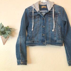 Cropped jean jacket with removable hood